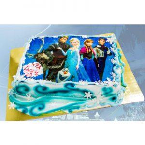 """Торта """"Леденото кралство"""" със захарна плака"""